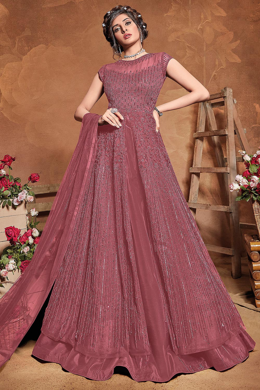 Dusky Pink Sequin Embellished Anarkali Dress