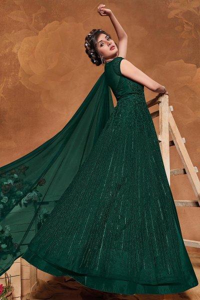 Bottle Green Sequin Embellished Anarkali Dress