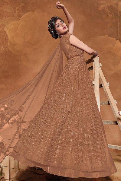 Brown Sequin Embellished Anarkali Dress