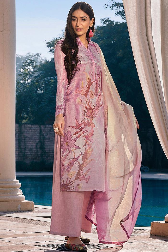 Ready to Wear Mauve Pink Digital Print Cotton Silk Palazzo Suit