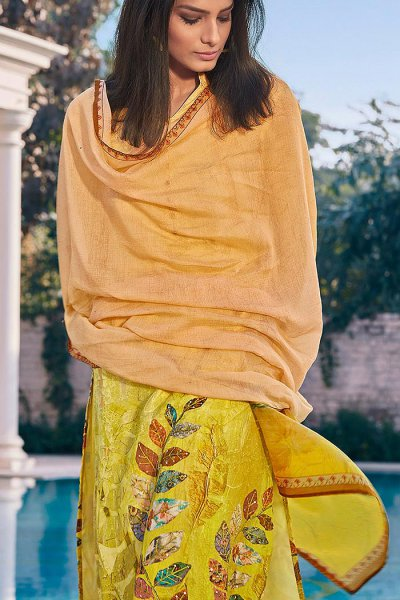 Ready to Wear Yellow Digital Print Cotton Silk Palazzo Suit