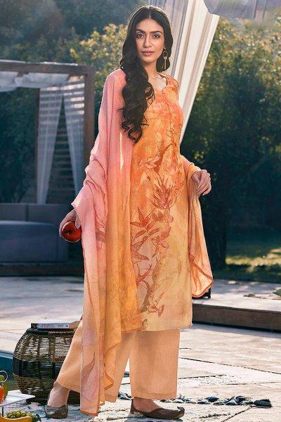 Ready to Wear Pastel Orange Digital Print Cotton Silk Palazzo Suit