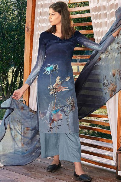 Ready to Wear Blue Ombre Digital Print Cotton Silk Palazzo Suit