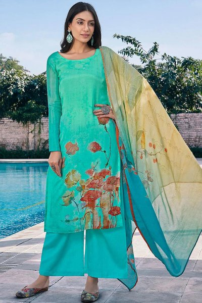 Ready to Wear Turquoise Green Digital Print Cotton Silk Palazzo Suit