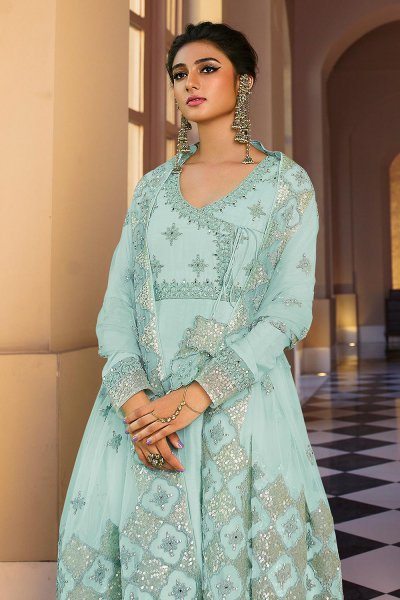 Blue Angrakha Style Anarkali Suit with Sequins Work