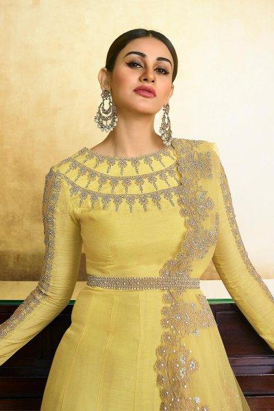 Beautiful Yellow Zari Embroidered Silk Anarkali Suit with Belt