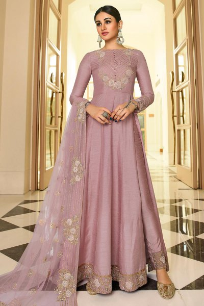 Misty Mauve Embroidered Party Wear Anarkali Suit