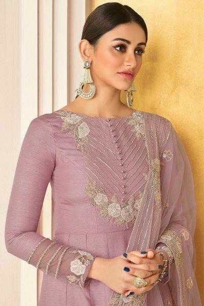 Misty Mauve Embroidered Party Wear Silk Anarkali Suit