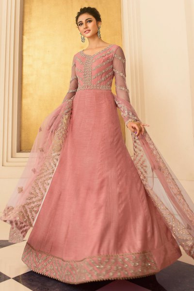 Coral Pink Embroidered Party Wear Anarkali Suit