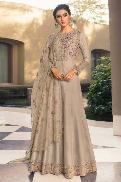 Beige Embroidered Party Wear Silk Anarkali Suit