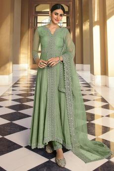 Sage Green Embroidered Party Wear Anarkali Suit