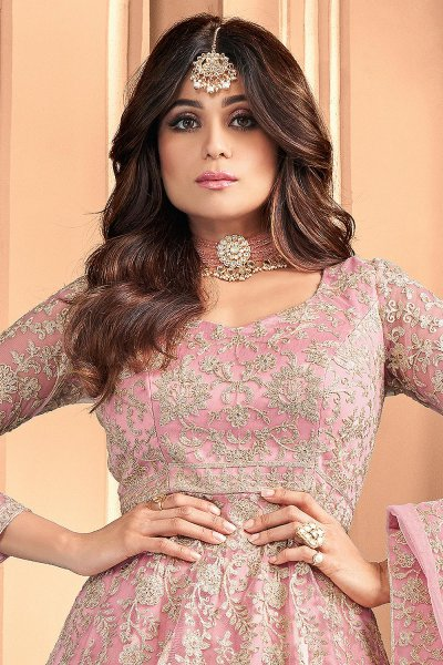 Pink Embroidered Party Wear Anarkali Suit