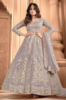 Misty Lilac Embroidered Party Wear Anarkali Suit