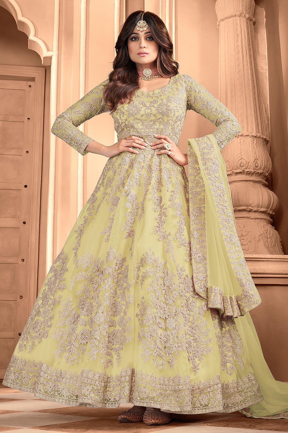 Yellow Embroidered Party Wear Anarkali Suit