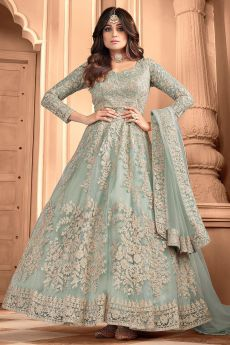 Misty Green Embroidered Party Wear Anarkali Suit