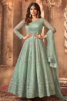 Seafoam Green Embroidered Anarkali Suit with Sequins Work