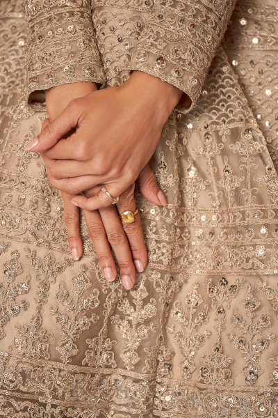 Coffee Beige Zari Embroidered Anarkali Suit