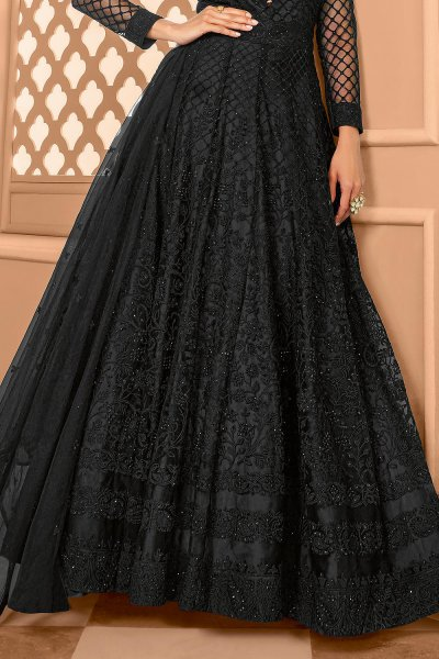 Black Party Wear Embroidered Anarkali Suit
