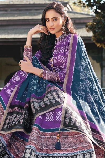 Purple And Blue Jacquard Silk Printed Long Anarkali Dress with Silk Dupata