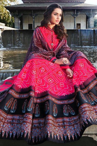 Crimson Hot Pink And Black  Jacquard Silk Printed Long Anarkali Dress with Silk Dupata