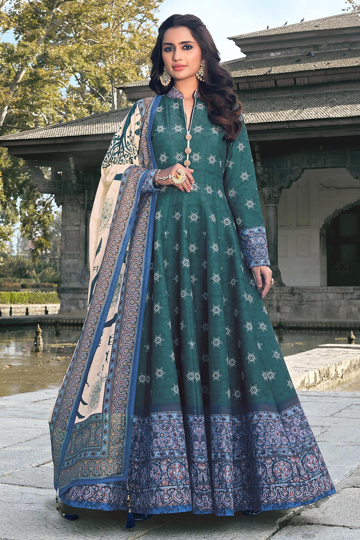 Teal Blue And Cream Jacquard Silk Printed Long Anarkali Dress with Silk Dupata