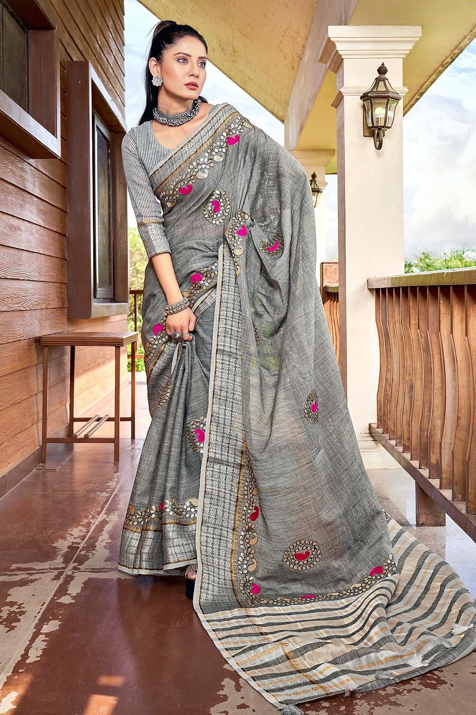 Grey Gotta Pati Embellished Linen Saree