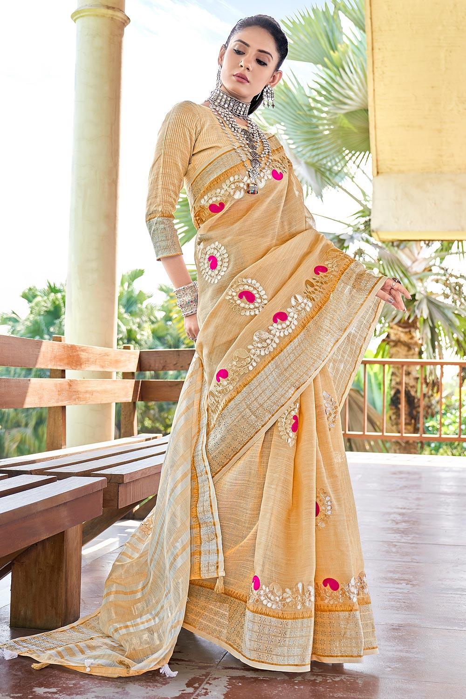 Beige Gotta Pati Embellished Linen Saree