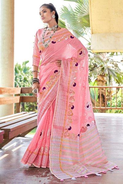 Light Pink Gotta Pati Embellished Linen Saree