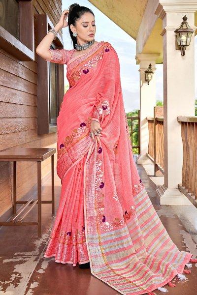 Coral Pink Gotta Pati Embellished Linen Saree