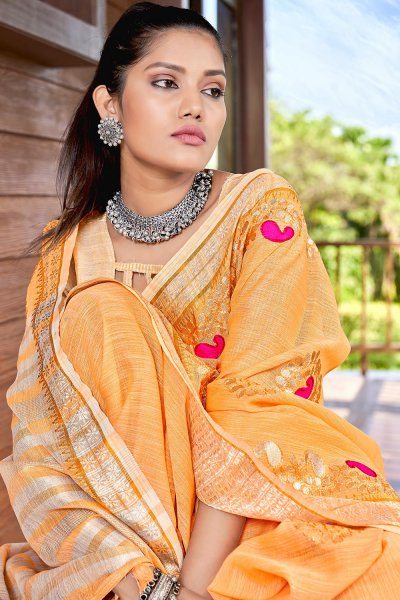Light Orange Gotta Pati Embellished Linen Saree