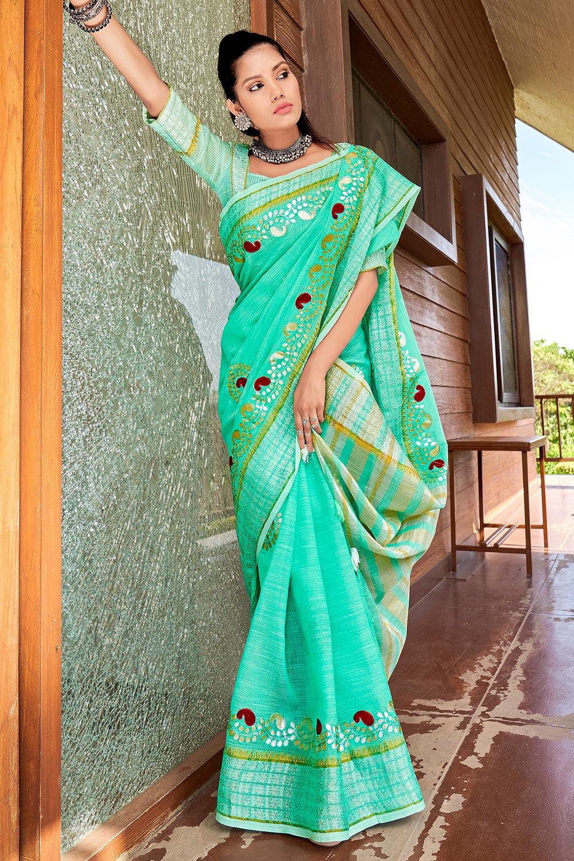 Sea Green Gotta Pati Embellished Linen Saree