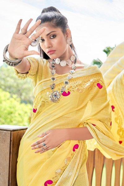 Lemon Yellow Gotta Pati Embellished Linen Saree