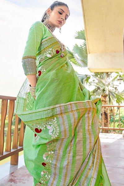 Lime Green Gotta Pati Embellished Linen Saree