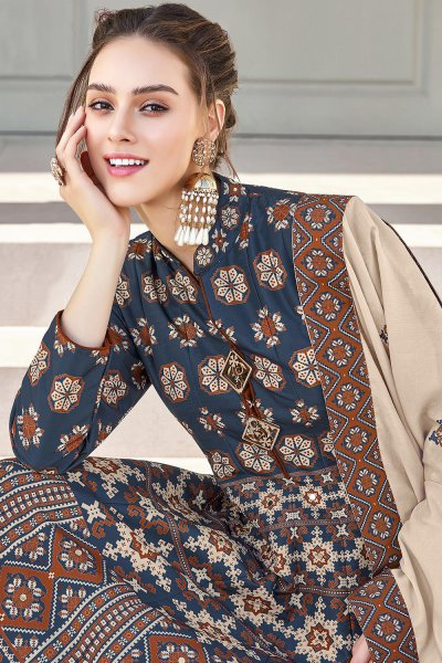 Navy Blue Silk Patola Printed Anarkali  Dress