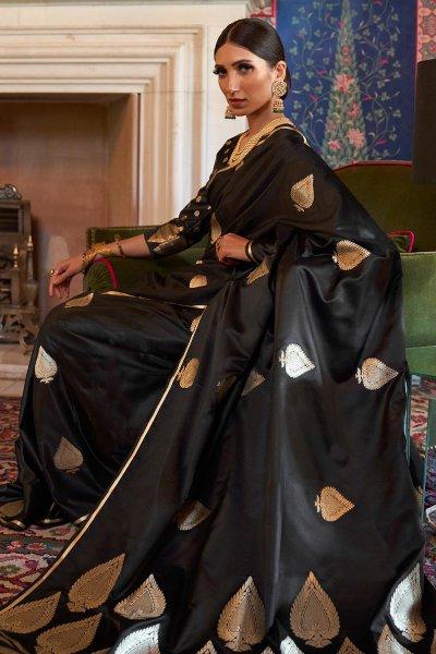 Black Pure Satin Woven Silk Saree