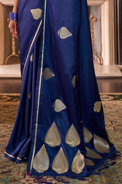 Royal Blue Pure Satin Woven Silk Saree