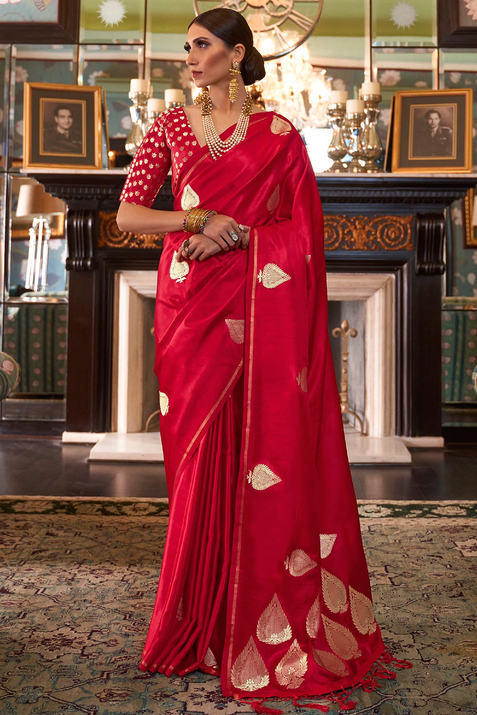 Red Pure Satin Woven Silk Saree