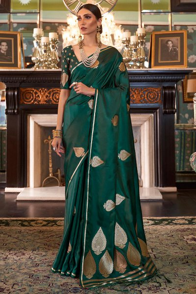 Dark Green Pure Satin Woven Silk Saree