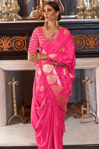 Bright Pink Pure Satin Woven Silk Saree
