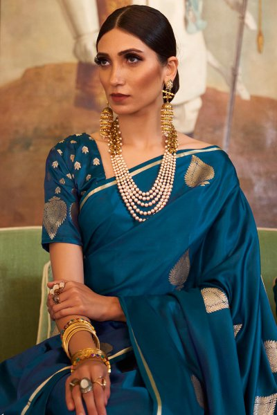 Turkish Blue Pure Satin Woven Silk Saree