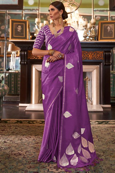 Purple Pure Satin Woven Silk Saree