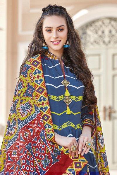 Persian Blue Silk Patola Printed Anarkali  Dress
