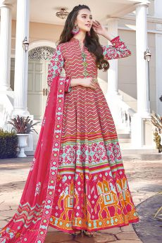 Red Silk Patola Printed Anarkali  Dress
