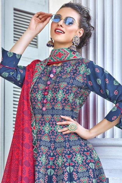 Dark Blue Silk Patola Printed Anarkali  Dress