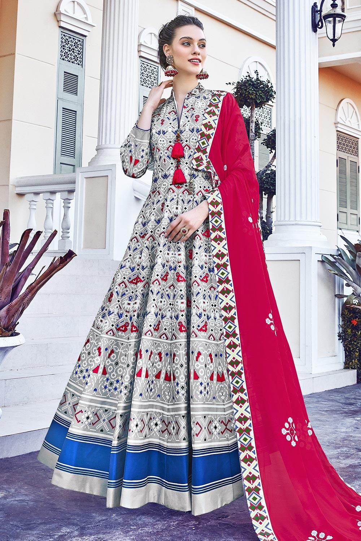 White Silk Patola Printed Anarkali  Dress
