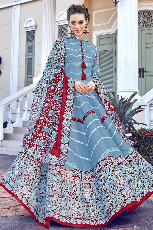 Blue Silk Patola Printed Anarkali  Dress