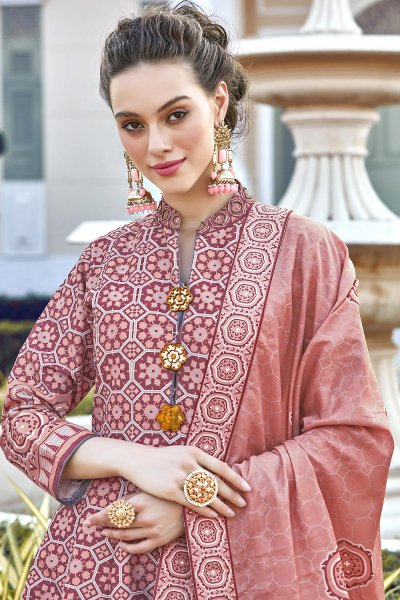 Peach Silk Patola Printed Anarkali  Dress