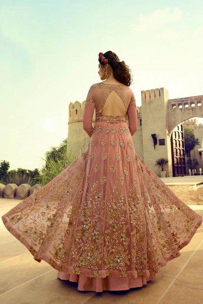 Embroidered Blush Pink Anarkali Suit/Lehenga in Net