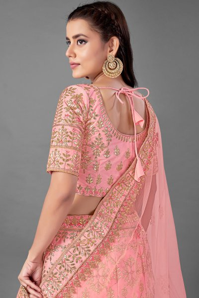 Peach Silk Embroidered Lehenga