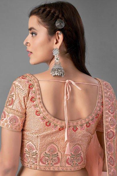 Peach Satin Silk Embroidered Lehenga